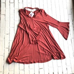 NWT Coral Dress 1X With Behind the Neck Strap